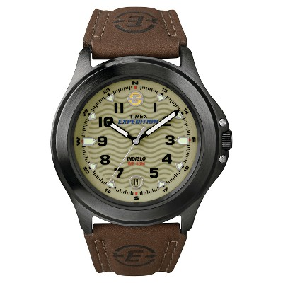 Men's Timex Expedition Field Watch with Leather Strap - Gray/Green/Brown T470129J