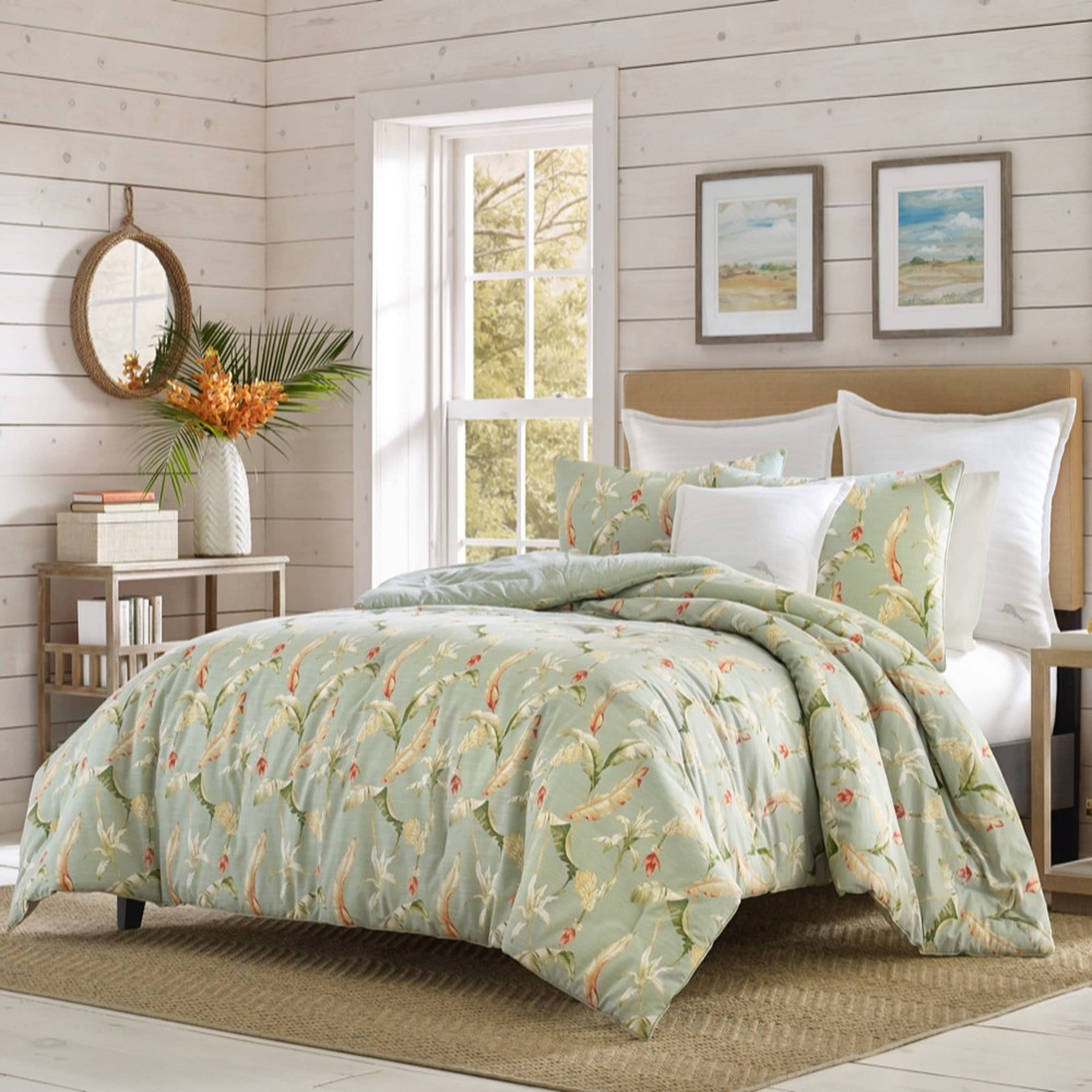 Image of Relax by Tommy Bahama Full/Queen Bananas For You Duvet Cover & Sham Set Green