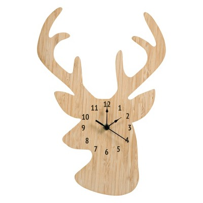 Trend Lab Wall Clock - Bamboo Stag Head
