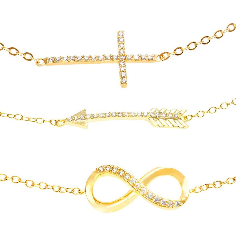 Round-Cut Cubic Zirconia Gold Plated Bracelet Set with Cross, Arrow & Infinity (7.25), Women's