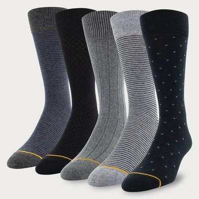 Signature Gold by GOLDTOE Men's Classic Dot Crew Socks 5pk - Black 6-12.5