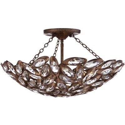 """Franklin Iron Works Rustic Ceiling Light Semi Flush Mount Fixture Bronze Bowl 20"""" Wide Clear Cut Crystal for Bedroom Living Room"""