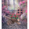 "18"" Wooden Wheelbarrow Barrel Novelty Planter Brown - Gardenised - image 4 of 4"