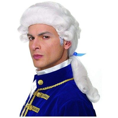 Costume Culture by Franco LLC Colonial Duke Men's Costume Wig with Bow - White