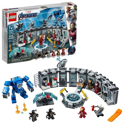 LEGO Marvel Avengers Iron Man Hall of Armor Superhero Mech Model with Tony Stark Action Figure 76125