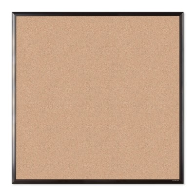 "U Brands 36"" Square Cork Bulletin Board Black Aluminum Frame"