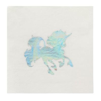 "Blue Panda 50-Pack Disposable Paper Napkins Unicorn Party Supplies, White Holographic Foil 5""x5"""