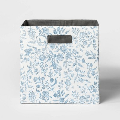 "13"" Fabric Cube Storage Bin Soft Blue Floral Pattern - Threshold™"