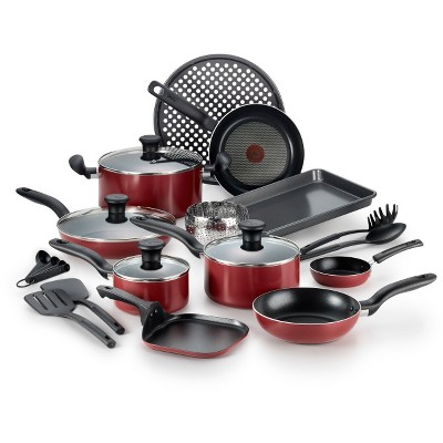 T-Fal 20pc Cookware Set Red