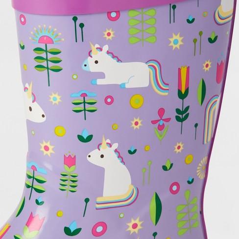 2a8cf67c19060 Kids' Unicorn Garden Rain Boots Purple - Kid Made Modern : Target