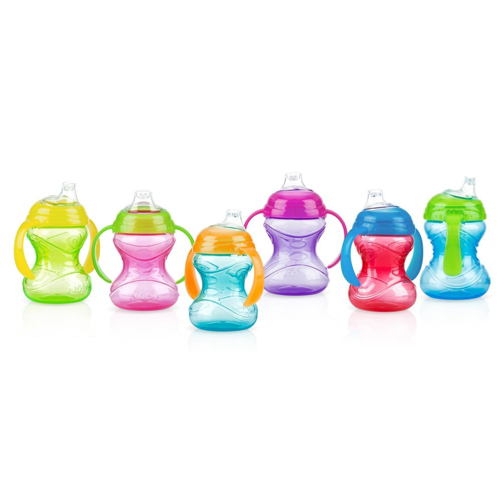 Image of Nuby Cup + Clik-It Handle + 2pk/4ct + Sippy Cups + 8 oz - Assorted Colors