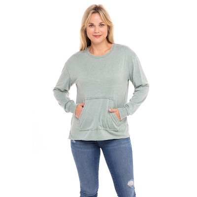Sebby Collection Women's Kangaroo Pocket Soft Terry Sweatshirt