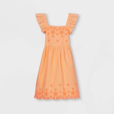 Girls' Short Flutter Sleeve Embroidered Woven Dress - Cat & Jack™