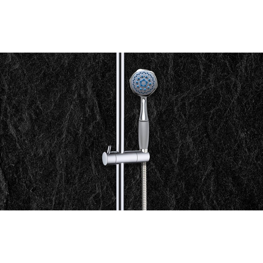 Universal Multi Function Hand Held Shower Head with Chrome (Grey) Finish with Hose Chrome - Coby