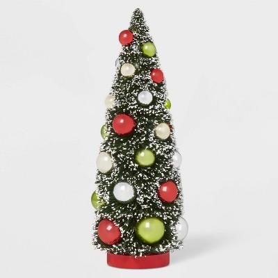 12in x 4.75in Bottle Brush Ornament Tree Retro Green/Red - Wondershop™