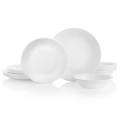 Corelle 18pc Glass Linen Weave Dinnerware Set