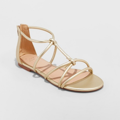 eb44e0311146 Women s Samina Wide Width Gladiator Sandals - A New Day™ Gold 12   Target