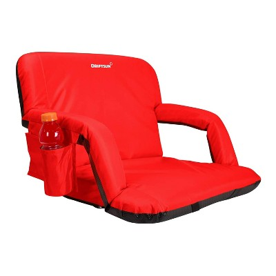 Driftsun Extra Wide Padded Folding Portable 6 Position Reclining Cushioned Stadium Seat Chair with Beverage Cup Holder and Backpack Carry Straps, Red