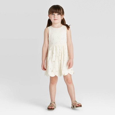 Toddler Girls' Floral Lace Scallop Hem Dress - Cat & Jack™ White 12M