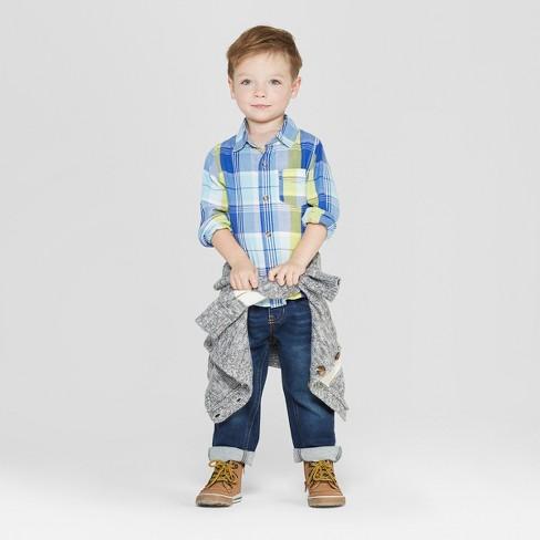 de1261298c716 Toddler Boys  Long Sleeve Plaid Poplin Button-Down Shirt - Cat   Jack™ Blue Yellow    Target