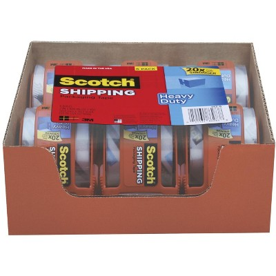 Scotch Heavy Duty Shipping Packaging Tape with Dispenser, 1.88 x 800 Inches, Clear, pk of 6