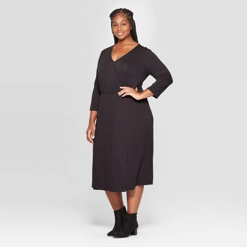 Women\'s Plus Size Long Sleeve V-Neck Knit Wrap Midi Dress - Ava & Viv™ Black