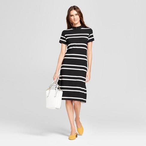 Women s Striped Midi Dress - K By Kersh Black White   Target c558a474c3