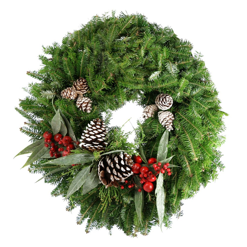 "Image of ""24"""" Live Fresh Cut Bayberry Frosted Wreath - Cottage Hill"""