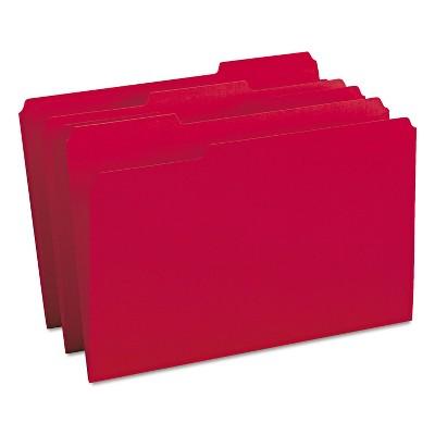Smead File Folders 1/3 Cut Top Tab Legal Red 100/Box 17743