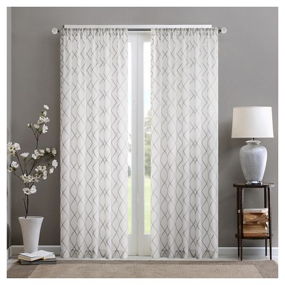 Clarissa Diamond Sheer Curtain Panel White/Gray (50x84 )