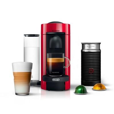 Nespresso Vertuo Plus  Coffee and Espresso Machine by De'Longhi with Aeroccino, Red