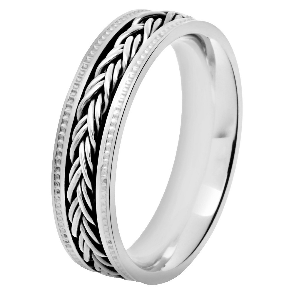 Men's Crucible Stainless Steel Ring with Braided Inlay Milgrain (12), Silver