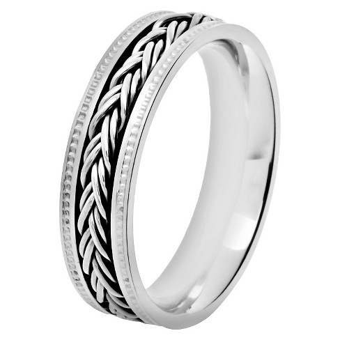 Men's Crucible Stainless Steel Ring with Braided Inlay Milgrain - image 1 of 3