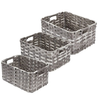 mDesign Rectangular Woven Braided Home Storage Basket Bin Set in 3 Sizes - Gray