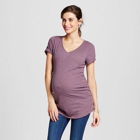 Maternity Heathered V-Neck T-Shirt Purple M - Liz Lange for Target - image 1 of 2