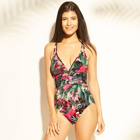 db58ad3ac9eba Women's Ruched One Piece Swimsuit - Aqua Green® Multi Floral : Target