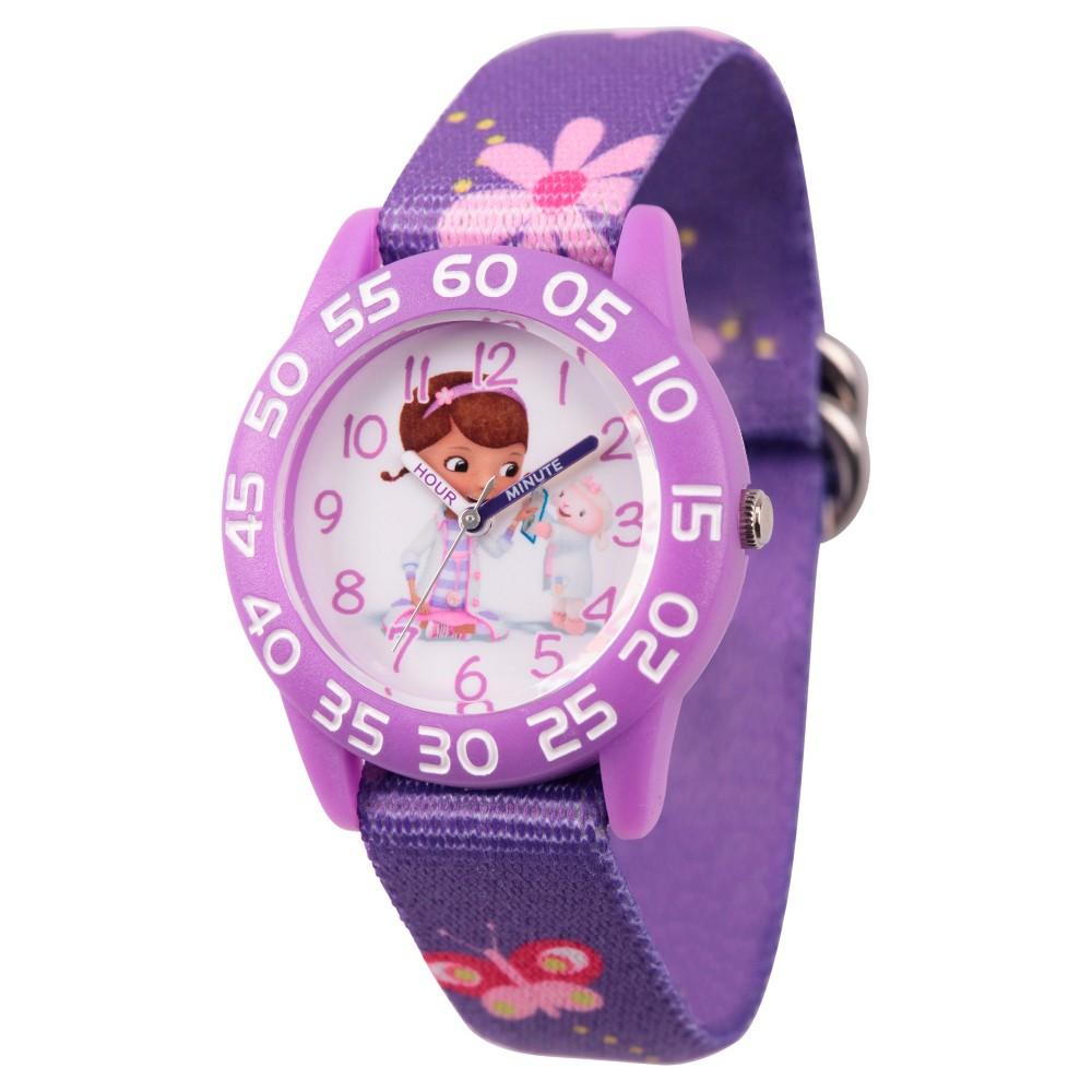 Girls' Disney Doc McStuffins and Lambie Purple Plastic Time Teacher Watch - Purple