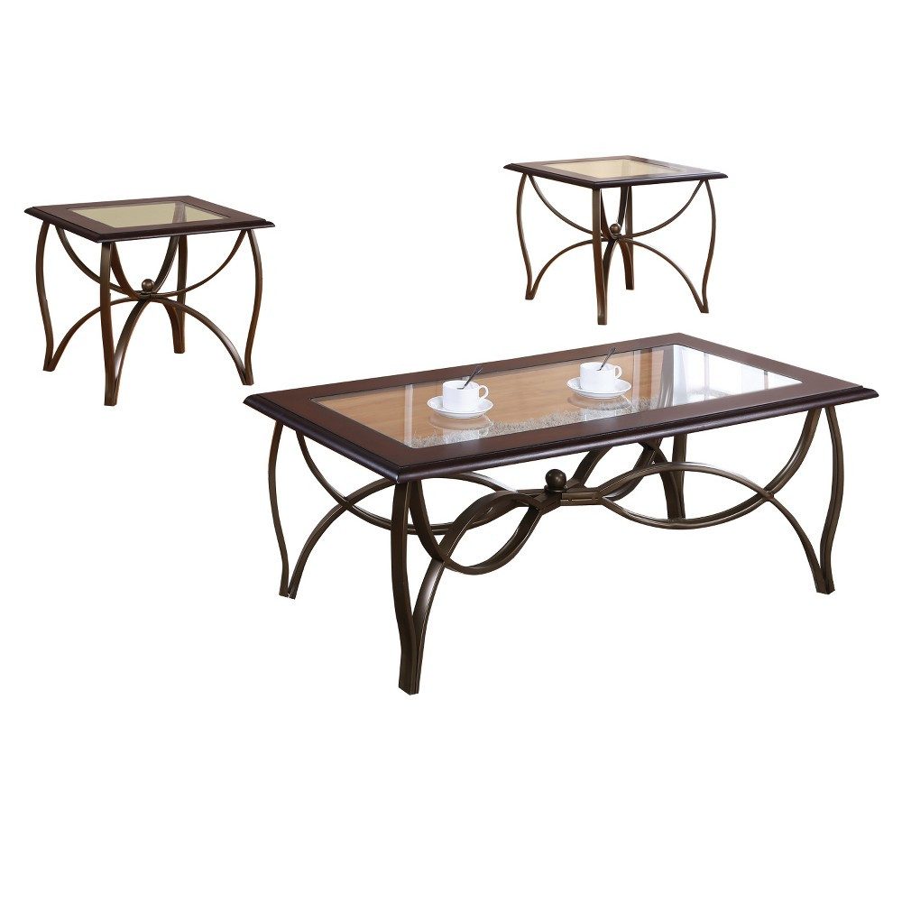 Coffee Table Set Brown Set Of 3 - Home Source Industries