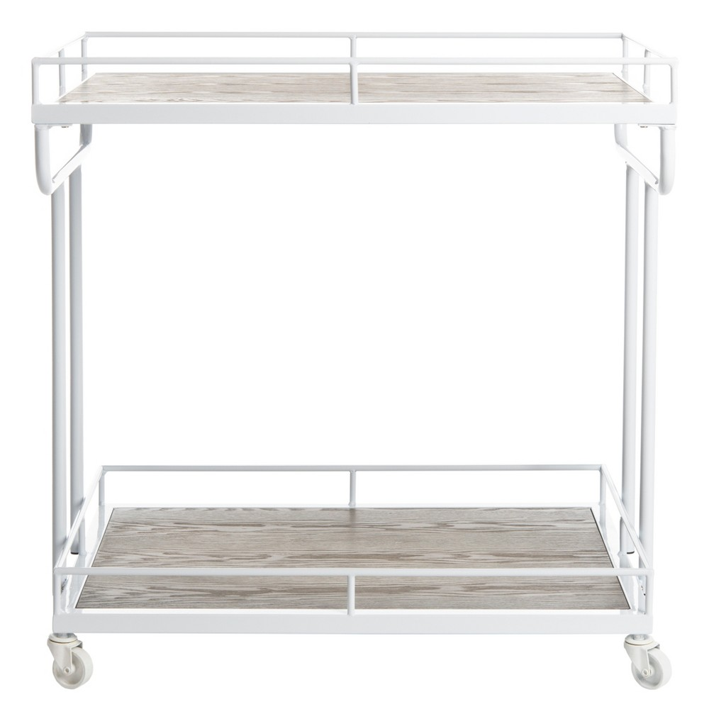 Dawson 2 Tier Rectangle Bar Cart White - Safavieh