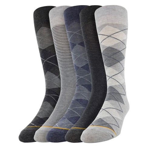 Signature Gold by GOLDTOE Men's Argyle Crew Socks 5pk - Gray 10-13 - image 1 of 1
