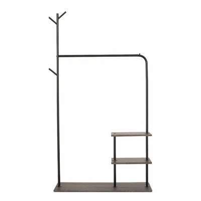 Garment Rack with 3-Tier Wood Storage Shelves and Coat Hanger,  Freestanding Closet in Metal Industrial Style, Black and Dark Brown