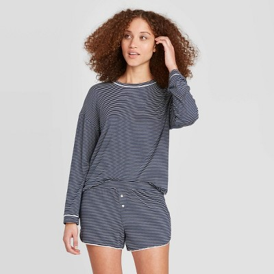 Women's Striped Beautifully Soft Long Sleeve and Short Pajama Set - Stars Above™ Navy L