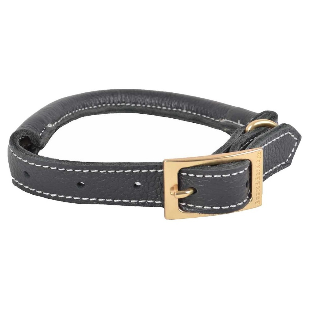 Rolled Leather Dog Collar - XL - Gray - Boots & Barkley, Gray Gold White