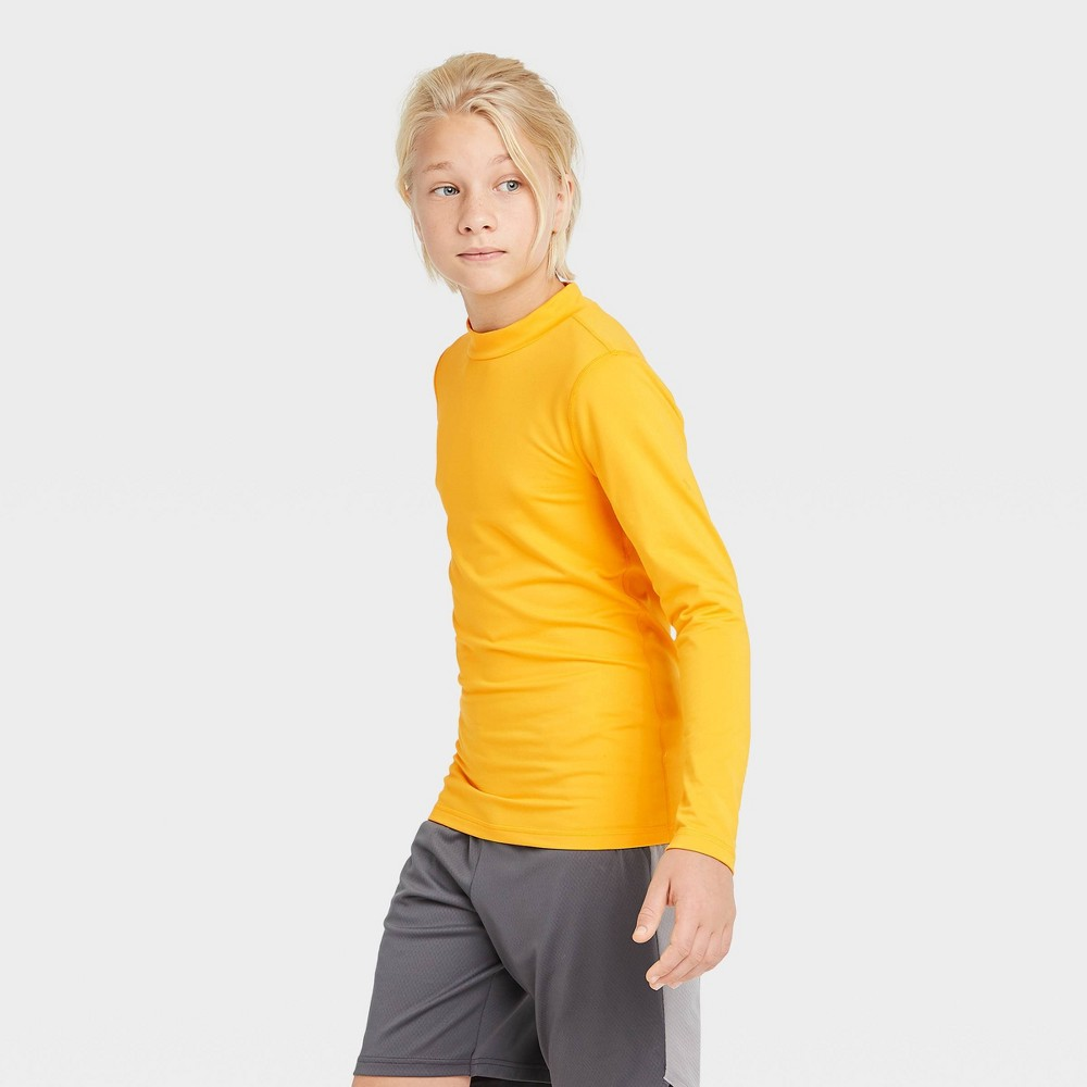 Boys 39 Long Sleeve Fitted Performance Mock Neck T Shirt All In Motion 8482 Gold L