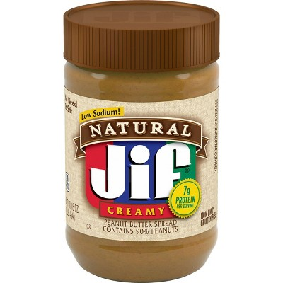 Jif Natural Low Sodium Creamy Peanut Butter - 16oz