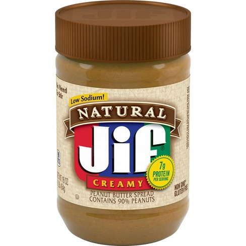 Jif Natural Low Sodium Creamy Peanut Butter - 16oz - image 1 of 4