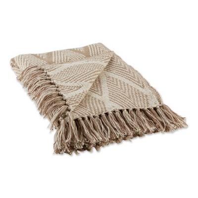 "50""x60"" Diamond Throw Blanket Natural - Design Imports"