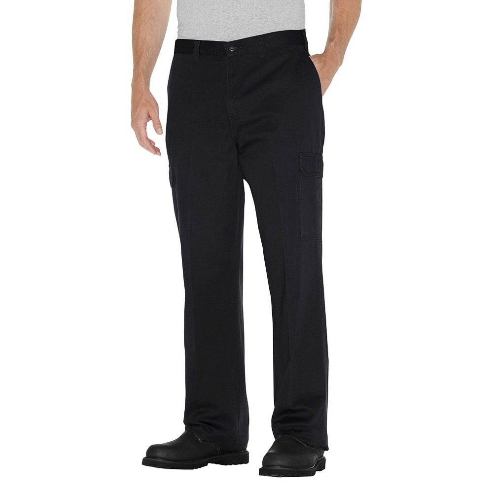 Dickies Men's Loose Straight Fit Cotton Cargo Work Pants- Black 36x30