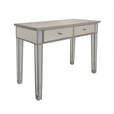 Mirrored Console Table/Vanity Table with 2 Drawers Silver/Clear - The Urban Port