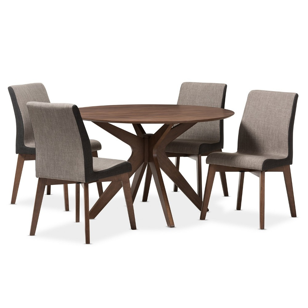 5pc Kimberly Mid Century Modern Walnut Finished Wood Round Dining Set Brown - Baxton Studio